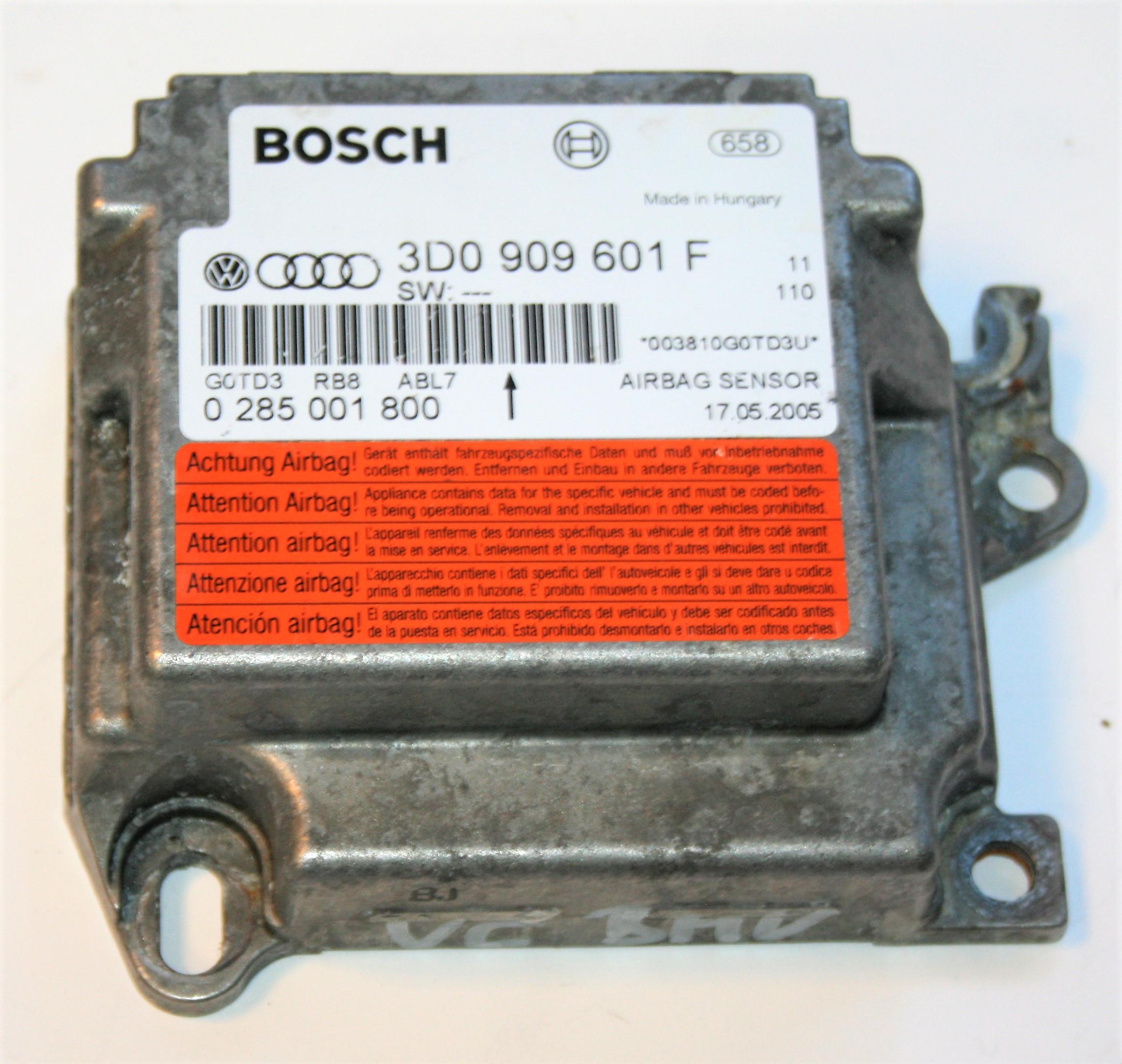 VW Touareg 2002 to 2007 Air Bag Crash Control Module ECU 3D0 909 601 F
